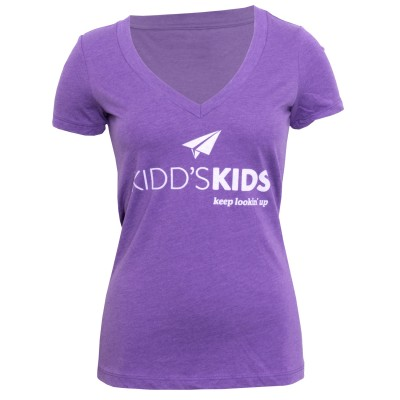 Ladies Logo Deep V-Neck Tee - Purple Berry