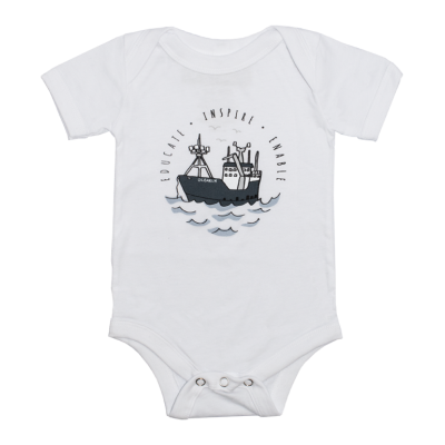 Infant Boat One Piece Bodysuit - White