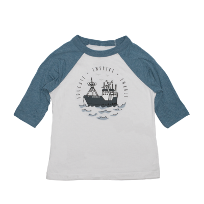 Toddler Boat Baseball Tee - Denim/White