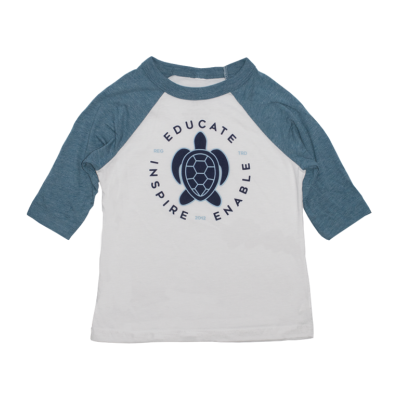 Toddler Turtle Baseball Tee - Denim/White