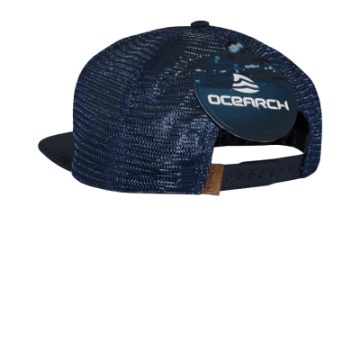 Flatbill Snapback Leather Patch Hat - Navy