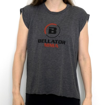 LADIES LOGO FLOWY MUSCLE TEE - DARK HEATHER GREY